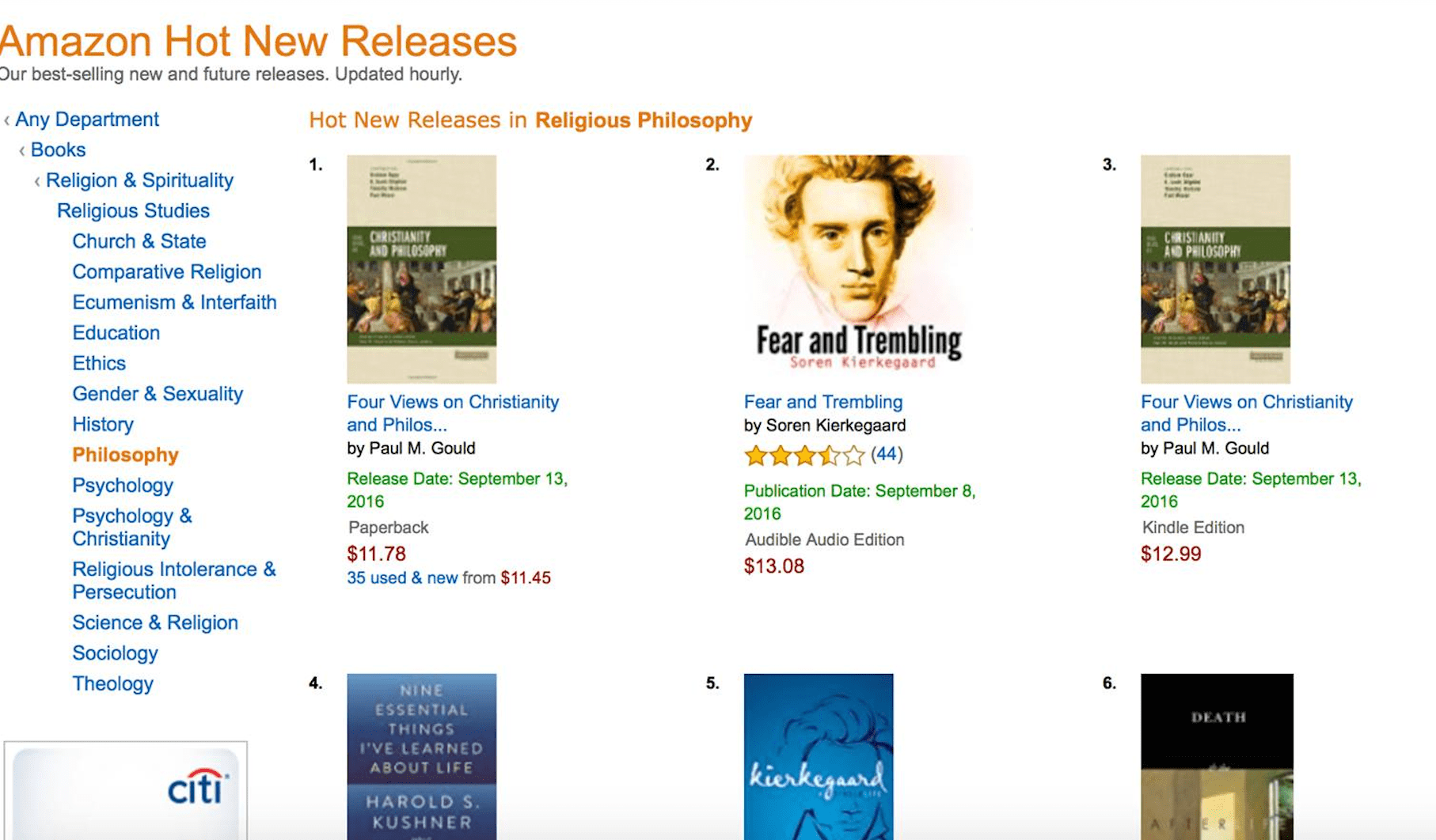 Four Views on Christianity and Philosophy #1 Book in Religious Philosophy Category on Amazon on Release Date!